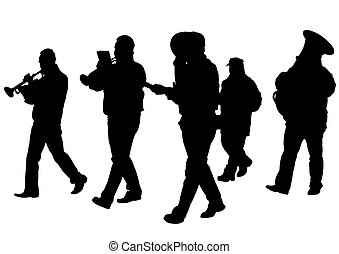 Brass instrument - Men walking with a brass instrument