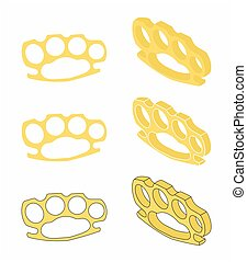 Brass knuckle gold - Brass knuckle for self defense vector...