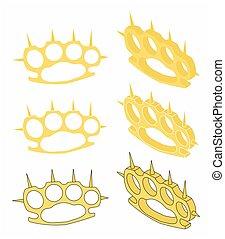 Brass knuckle gold - Brass knuckle for self defense vector...