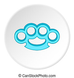 Brass knuckles icon, flat style