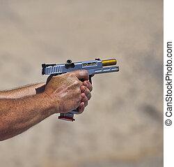 Brass leaving a pistol