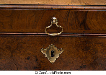 Brass Lock and Handle of a Vintage Wooden Chest