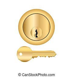 Brass Lock And Key - Brass cylinder type lock with key...
