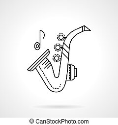 Brass melodies flat line vector icon. Sax