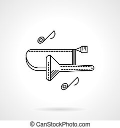Brass melodies flat line vector icon. Trombone