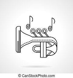 Brass melodies flat line vector icon. Trumpet