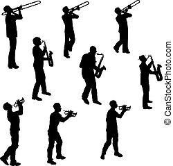 Brass Musicians - Brass Musician Vector Silhouettes