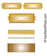 brass name plates on white
