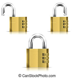 Brass Open And Closed Isolated Padlock. Eps10 Vector...