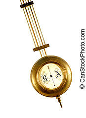 brass pendulum of old clock isolated on white background