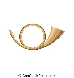 Brass post horn isolated icon
