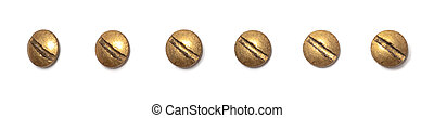 Brass round head screw from different perspectives on a white background