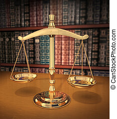 Brass Scales of Justice on a desk showing Depth-of-field books behind in the background