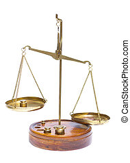 Brass scales of justice.