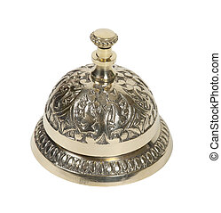 Brass Service bell - Brass intricate service bell placed on...