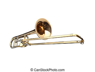 Brass slide trombone on a whithe background