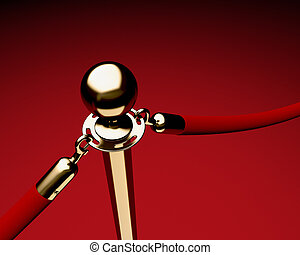 Brass stanchion with red velvet rope - Closeup of single...