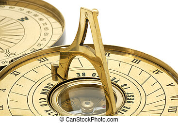 Brass Sundial and Compass