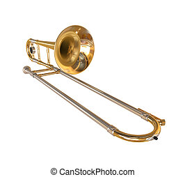 Brass Trombone isolated on white background. 3D render