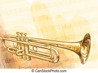 Brass Trumpet. - Brass Trumpet on musical background. Vector...