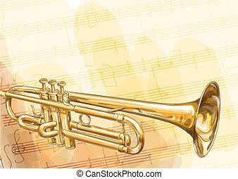 Brass Trumpet on musical background. Vector illustration.