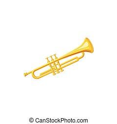 Brass trumpet icon, cartoon style