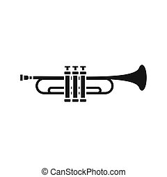 Brass trumpet icon, simple style - icon in flat style on a...