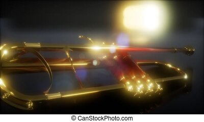 brass trumpet in the dark