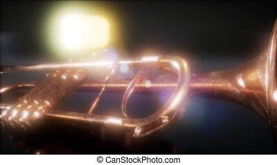 brass trumpet in the dark