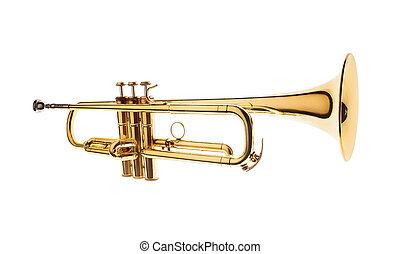 brass trumpet isolated on white background