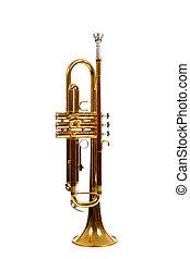 Brass trumpet on a white background