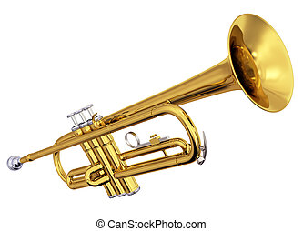 Brass trumpet on white background - Isolated polished brass...