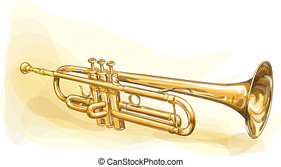 Brass Trumpet. Vector illustration.