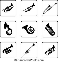 Brass - Musical instruments black and white silhouettes