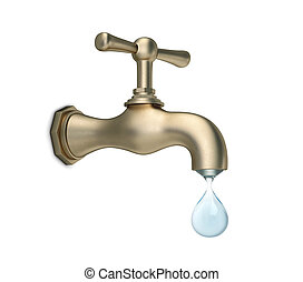 Brass water tap with big drop of water