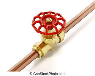 Brass water valve and pipe isolated on white background. 3D...