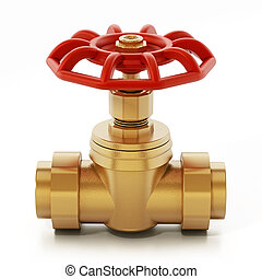 Brass water valve isolated on white background. 3D...