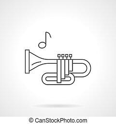 Brass wind tune flat line vector icon