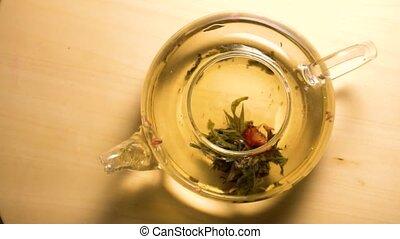 brassage, vue, sommet, jeûne, thé, vert
