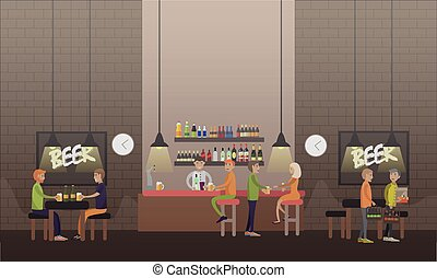 Brasserie concept vector illustration in flat style