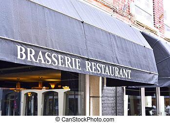 Brasserie restaurant, close-up of the building exterior of...