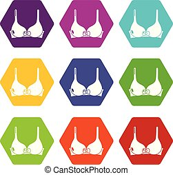 Brassiere icons set 9 vector - Brassiere icons 9 set coloful...