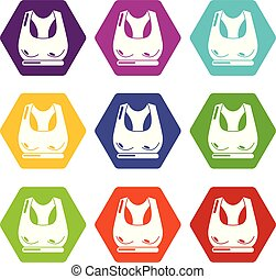 Brassiere sport icons set 9 vector - Brassiere sport icons 9...