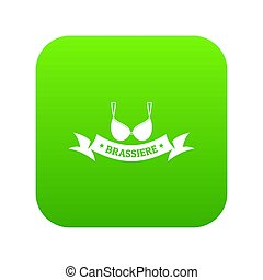 Brassiere summer icon green isolated on white background