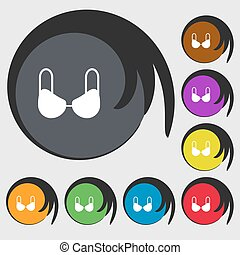 brassiere top icon sign. Symbols on eight colored buttons. Vector