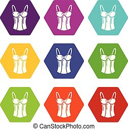 Brassiere top icons set 9 vector