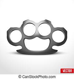 brassknuckles, vector, metal, ilustración