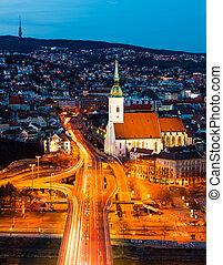 bratislava, スロバキア, 光景, 航空写真, 夜