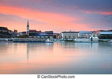 Bratislava and river Danube. - View of the Bratislava over...