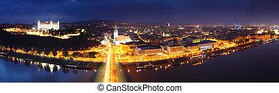 Bratislava at twilght from new bridge